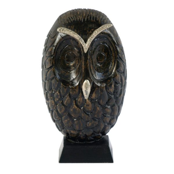 AR-002 Wooden Figure Of An Owl With Silver Accents On Stand. One of Many Beautiful Accessories from Adesso Wholesale.