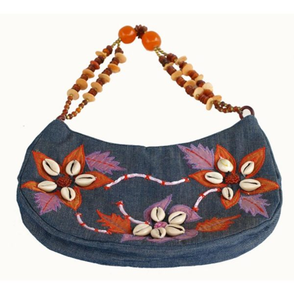 BG-027 Denim Handbag With Embroidered Shells And Beaded Handle. One of Many Beautiful Accessories from Adesso Wholesale.