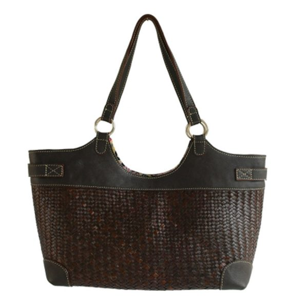BG-031 Dark Brown Purin Plait Handbag With Floral Lining, Leather Trim. One of Many Beautiful Accessories from Adesso Wholesale.