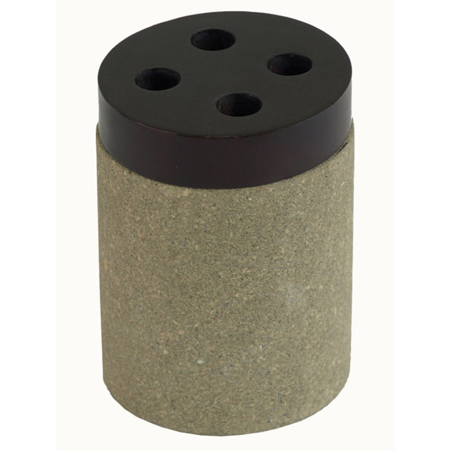 BI-032 Trotol Stone Round Toothbrush Holder With Mahogany Lid. One of Many Beautiful Accessories from Adesso Wholesale.