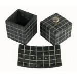 BI-051 Black Soapstone Bathroom Ensemble With Line Motif. One of Many Beautiful Accessories from Adesso Wholesale.