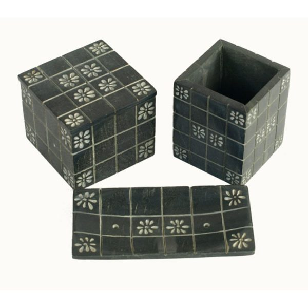 BI-052 Black Soapstone Bathroom Ensemble With Floral Motif. One of Many Beautiful Accessories from Adesso Wholesale.