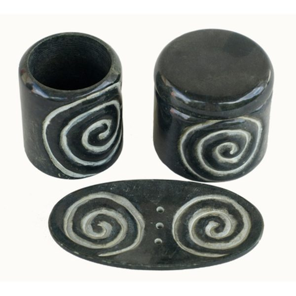 BI-054 Black Soapstone Bathroom Ensemble With Swirl Motif. One of Many Beautiful Accessories from Adesso Wholesale.