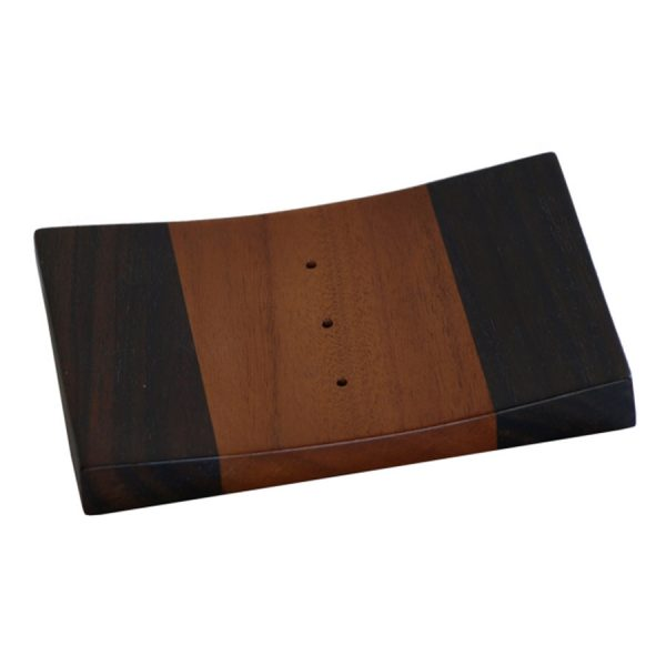 BI-061 Wooden Rectangular Soap Plate - Two Wood Accent. One of Many Beautiful Accessories from Adesso Wholesale.
