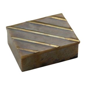 BO-060 Rectangular Stone Box With Lid And Brass Trim. One of Many Beautiful Handcrafted Accessories from Adesso Wholesale.