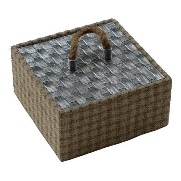 BO-184 Large Aluminium And Jute Box With Beige Lining. One of Many Beautiful Handcrafted Accessories from Adesso Wholesale.