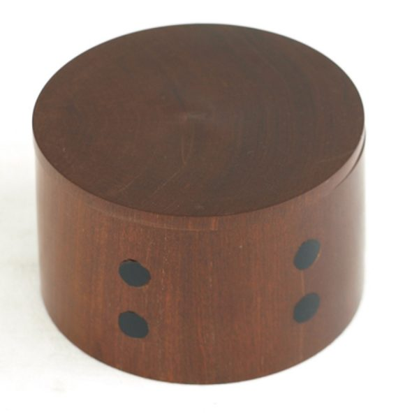 BO-197 Large Round Light Wooden Container With Lid And Dark Wood Dot Decor. One of Many Accessories from Adesso Wholesale.
