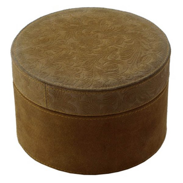 BO-244 Large Tan Whisky Colour Suede Round Box With Floral Print Lid. One of Many Beautiful Accessories from Adesso Wholesale.