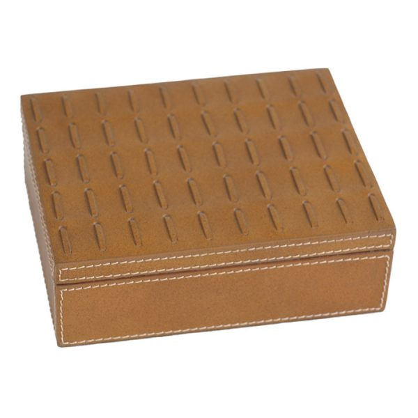 BO-245 Tan Leather Cigar Box With Stitch Accent Hinged Lid. One of Many Beautiful Luxurious Accessories from Adesso Wholesale.
