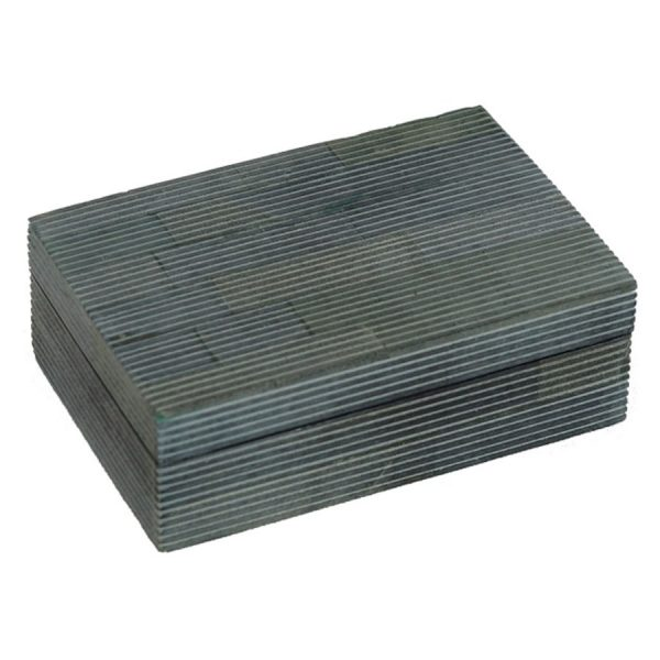 BO-319 Rectangular Soapstone Segment Box With Longitudinal Grooves. One of Many Beautiful Accessories from Adesso Wholesale.