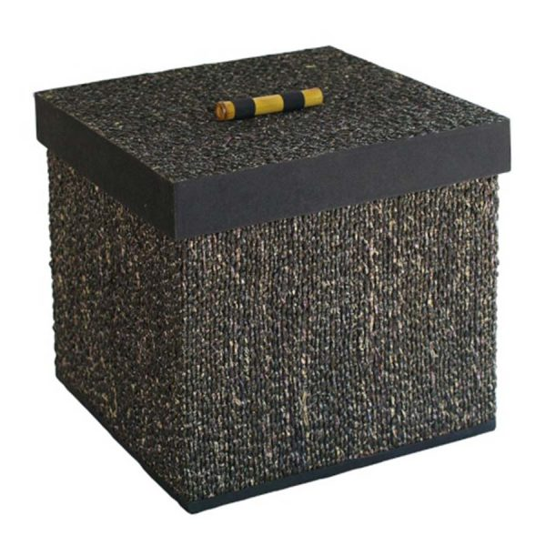 BO-350 Large Square Mendong Weave Box With Bamboo Handle. One of Many Beautiful Handcrafted Accessories from Adesso Wholesale.