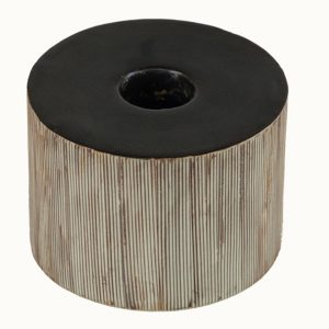 CA-152 Sepia Ceramic Candle Holder With Delicate Vertical Stripes. One of Many Beautiful and Luxurious Accessories from Adesso Wholesale.