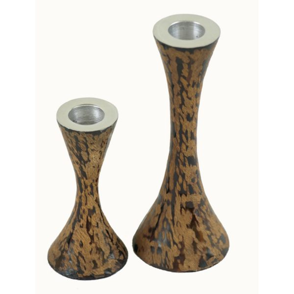 CA-283 Set of 2 Aluminium Candlesticks In Brown Leather Finish. One of Many Beautiful Exclusive and Luxurious Accessories from Adesso Wholesale.