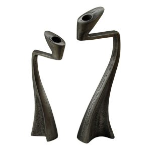 CA-284 Set Of 2 Curvilinear Aluminium Candlesticks In Antique Silver Finish. One of Many Exclusive and Luxurious Accessories from Adesso Wholesale.