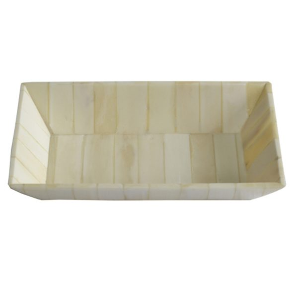 DB-239 Natural Ivory Finish Bone Segment Rectangular Dish. One of Many Beautiful Handcrafted, Exclusive and Luxurious Accessories from Adesso Wholesale.