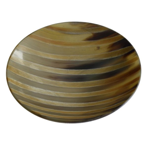 DB-243 Large Shallow Round Horn Dish With Burnished Stripe Design. One of Many Beautiful Handcrafted and Luxurious Accessories from Adesso Wholesale.