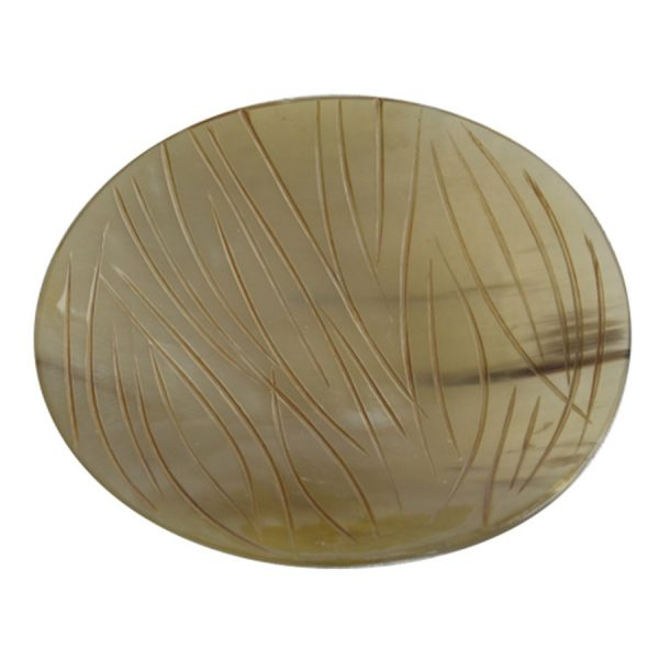 DB-327 Small Shallow Round Horn Dish With Carved Chisel Finish. One of Many Beautiful Handcrafted and Exclusive Accessories from Adesso Wholesale.