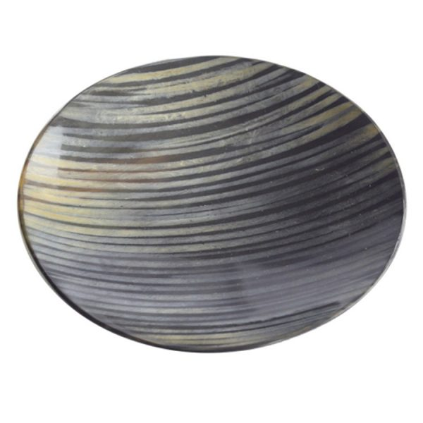 DB-406 Medium Shallow Round Horn Dish With Tiger Stripe Design. One of Many Beautiful, Exclusive and Luxurious Accessories from Adesso Wholesale.