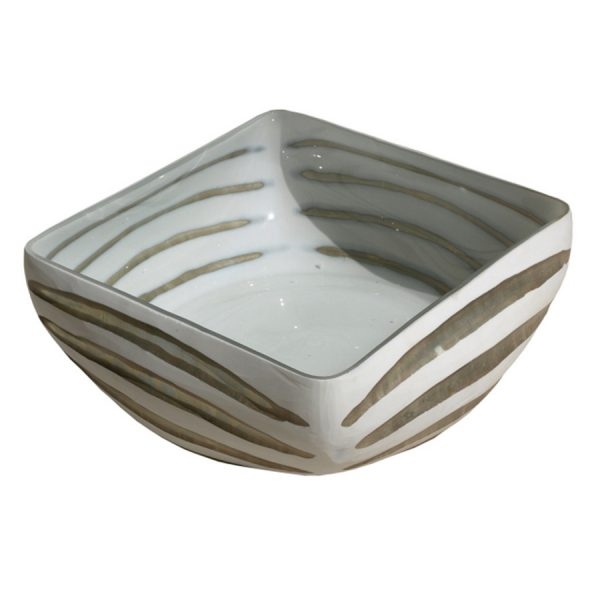 DB-477 Handmade Clear And White Glass Square Bowl With Horizontal Chisel Cut. One of Many Beautiful and Exclusive Accessories from Adesso Wholesale.