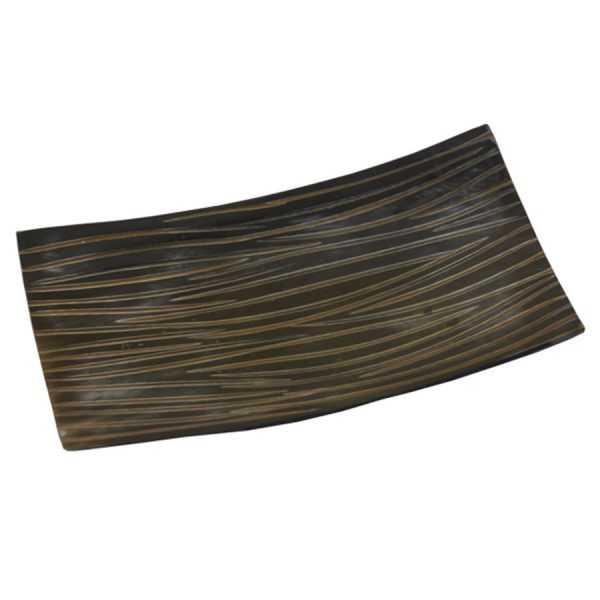 DB-497 Small Rectangular Shallow Horn Dish With Chisel Cut Finish. One of Many Beautiful, Exclusive and Luxurious Accessories from Adesso Wholesale.