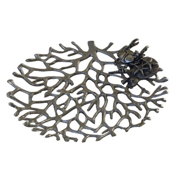 DB-534 Nickel Plated Aluminium Open Work Coral Form Platter With Crab, Starfish And Shell Motif. One of Many Beautiful Accessories from Adesso Wholesale.
