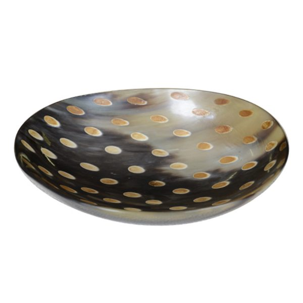 DB-557 Large Deep Oval Horn Dish With Burnished Tear Drop Motif. One of Many Beautiful Exclusive and Luxurious Accessories from Adesso Wholesale.