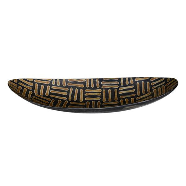 DB-560 Medium Canoe Shape Horn Dish With Burnished Parquet Pattern. One of Many Beautiful and Exclusive Accessories from Adesso Wholesale.