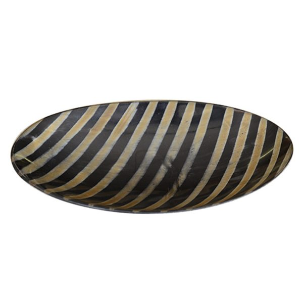DB-561 Medium Shallow Oval Horn Dish With Burnished Diagonal Stripes. One of Many Beautiful, Exclusive and Luxurious Accessories from Adesso Wholesale.