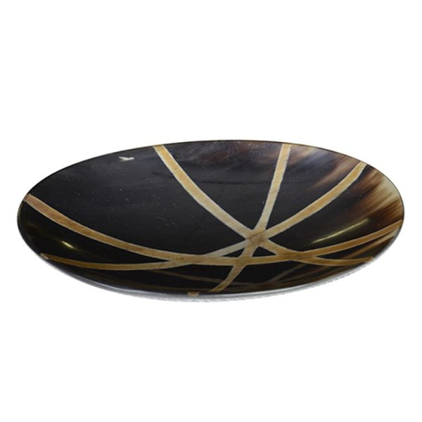 DB-562 Medium Shallow Oval Horn Dish With Burnished Zen Line Pattern. One of Many Beautiful and Exclusive Accessories from Adesso Wholesale.
