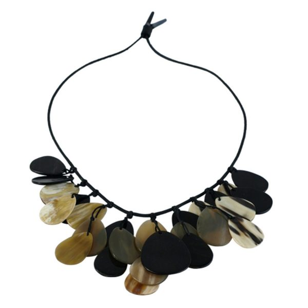 JE-011 Necklace With Light And Dark Horn Dew Drop Shape Disks. One of Many Beautiful Handcrafted and Luxurious Accessories from Adesso Wholesale.