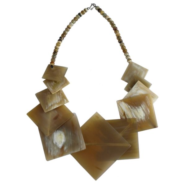 JE-013 Light Horn Necklace With Thin Light Horn Squares Of Various Sizes. One of Many Beautiful Handcrafted and Luxurious Accessories from Adesso Wholesale.