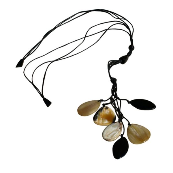 JE-031 Light And Dark Horn Teardrop Necklace With Adjustable Leather Cord. One of Many Beautiful Handcrafted and Exclusive Accessories from Adesso Wholesale.