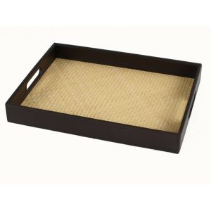 Tray With Woven Rattan