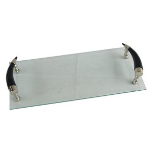 Glass Tray With Dark Horn Handles