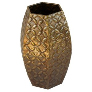 Embossed Hexagonal Brass Vase